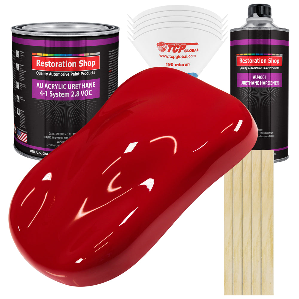 Viper Red Acrylic Urethane Auto Paint - Complete Gallon Paint Kit - Professional Single Stage High Gloss Automotive, Car, Truck Coating, 4:1 Mix Ratio 2.8 VOC