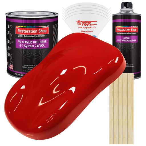 Pro Street Red Acrylic Urethane Auto Paint - Complete Gallon Paint Kit - Professional Single Stage High Gloss Automotive, Car, Truck Coating, 4:1 Mix Ratio 2.8 VOC