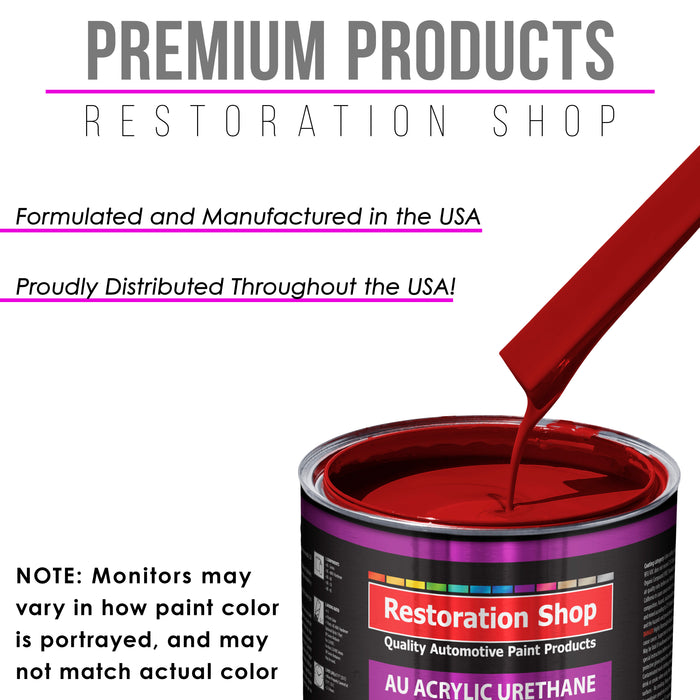 Quarter Mile Red Acrylic Urethane Auto Paint - Complete Quart Paint Kit - Professional Single Stage High Gloss Automotive, Car, Truck Coating, 4:1 Mix Ratio 2.8 VOC