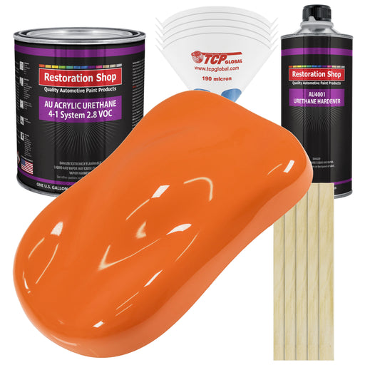 California Orange Acrylic Urethane Auto Paint - Complete Gallon Paint Kit - Professional Single Stage High Gloss Automotive, Car, Truck Coating, 4:1 Mix Ratio 2.8 VOC