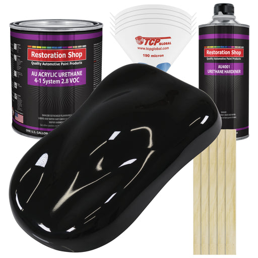 Jet Black (Gloss) Acrylic Urethane Auto Paint - Complete Gallon Paint Kit - Professional Single Stage High Gloss Automotive, Car, Truck Coating, 4:1 Mix Ratio 2.8 VOC