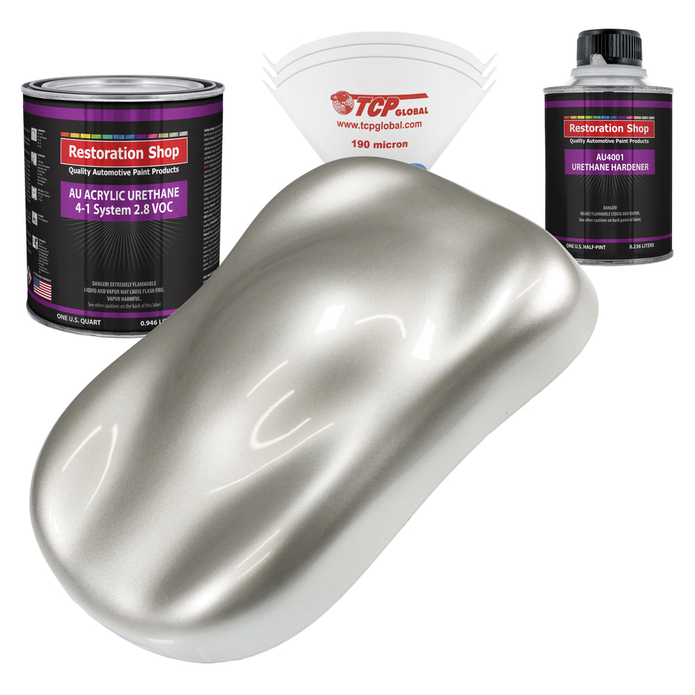 Sterling Silver Metallic Acrylic Urethane Auto Paint - Complete Quart Paint Kit - Professional Single Stage High Gloss Automotive, Car, Truck Coating, 4:1 Mix Ratio 2.8 VOC