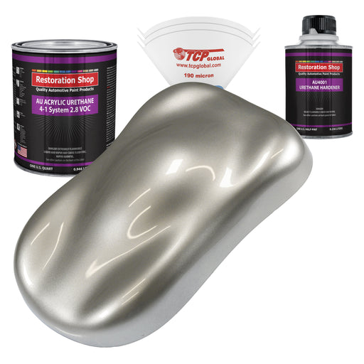 Pewter Silver Metallic Acrylic Urethane Auto Paint - Complete Quart Paint Kit - Professional Single Stage High Gloss Automotive, Car, Truck Coating, 4:1 Mix Ratio 2.8 VOC