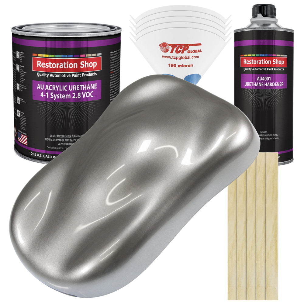 Titanium Gray Metallic Acrylic Urethane Auto Paint - Complete Gallon Paint Kit - Professional Single Stage High Gloss Automotive, Car, Truck Coating, 4:1 Mix Ratio 2.8 VOC
