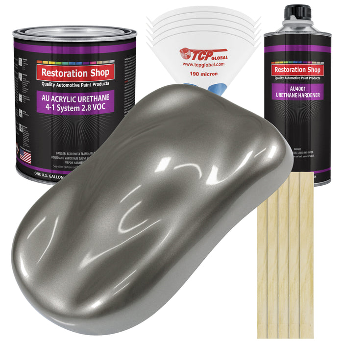 Graphite Gray Metallic Acrylic Urethane Auto Paint - Complete Gallon Paint Kit - Professional Single Stage High Gloss Automotive, Car, Truck Coating, 4:1 Mix Ratio 2.8 VOC