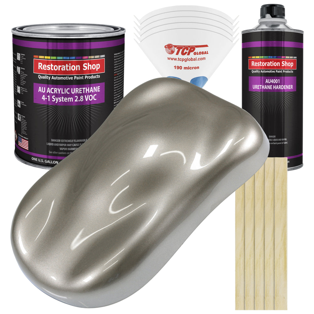 Warm Gray Metallic Acrylic Urethane Auto Paint - Complete Gallon Paint Kit - Professional Single Stage High Gloss Automotive, Car, Truck Coating, 4:1 Mix Ratio 2.8 VOC