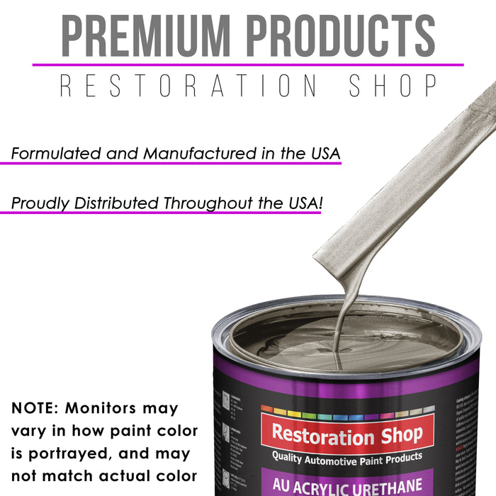 Warm Gray Metallic Acrylic Urethane Auto Paint - Complete Quart Paint Kit - Professional Single Stage High Gloss Automotive, Car, Truck Coating, 4:1 Mix Ratio 2.8 VOC