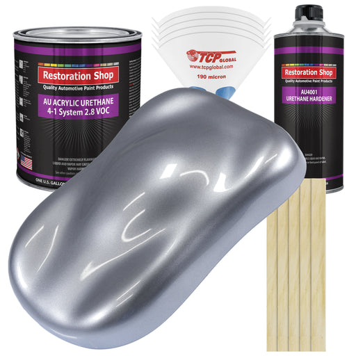 Cool Gray Metallic Acrylic Urethane Auto Paint - Complete Gallon Paint Kit - Professional Single Stage High Gloss Automotive, Car, Truck Coating, 4:1 Mix Ratio 2.8 VOC