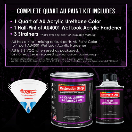 Black Metallic Acrylic Urethane Auto Paint - Complete Quart Paint Kit - Professional Single Stage High Gloss Automotive, Car, Truck Coating, 4:1 Mix Ratio 2.8 VOC