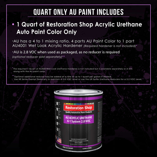 Black Metallic Acrylic Urethane Auto Paint - Quart Paint Color Only - Professional Single Stage High Gloss Automotive, Car, Truck Coating, 2.8 VOC