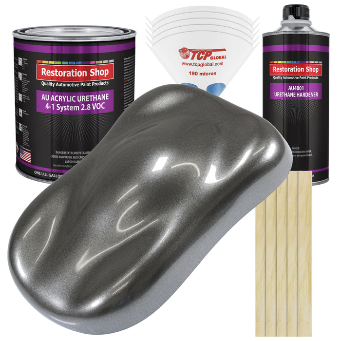 Meteor Gray Metallic Acrylic Urethane Auto Paint - Complete Gallon Paint Kit - Professional Single Stage High Gloss Automotive, Car, Truck Coating, 4:1 Mix Ratio 2.8 VOC