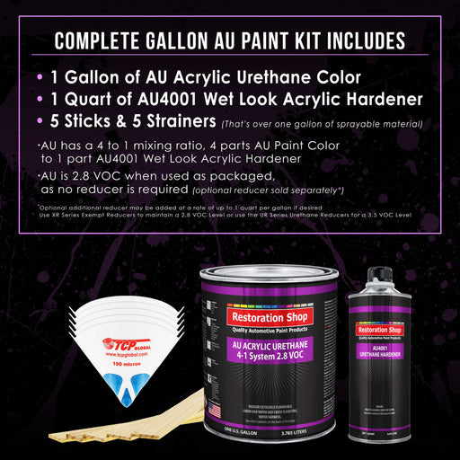 Bright Silver Metallic Acrylic Urethane Auto Paint - Complete Gallon Paint Kit - Professional Single Stage High Gloss Automotive, Car, Truck Coating, 4:1 Mix Ratio 2.8 VOC
