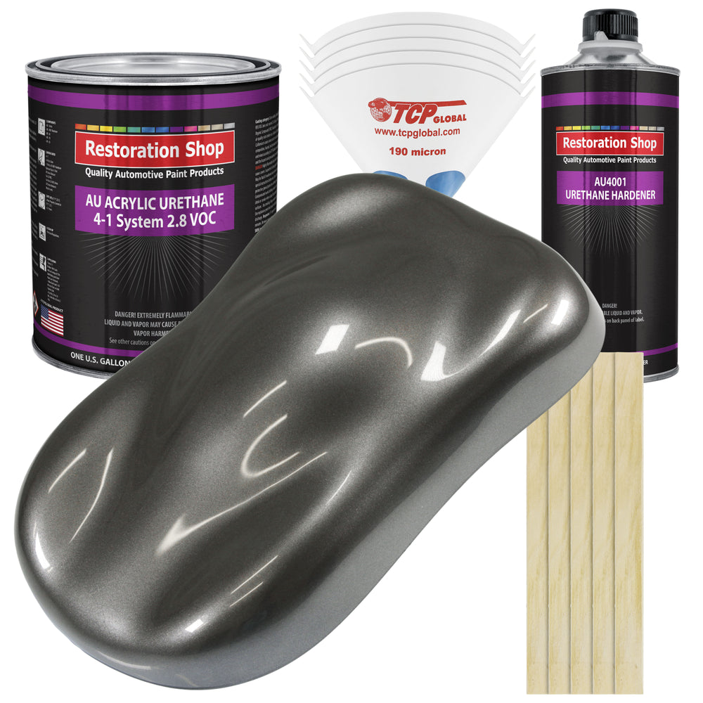 Chop Top Silver Metallic Acrylic Urethane Auto Paint - Complete Gallon Paint Kit - Professional Single Stage High Gloss Automotive, Car, Truck Coating, 4:1 Mix Ratio 2.8 VOC