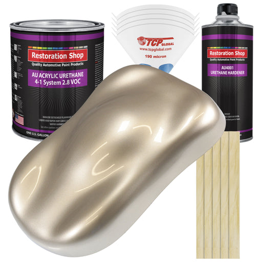 Cashmere Gold Metallic Acrylic Urethane Auto Paint - Complete Gallon Paint Kit - Professional Single Stage High Gloss Automotive, Car, Truck Coating, 4:1 Mix Ratio 2.8 VOC