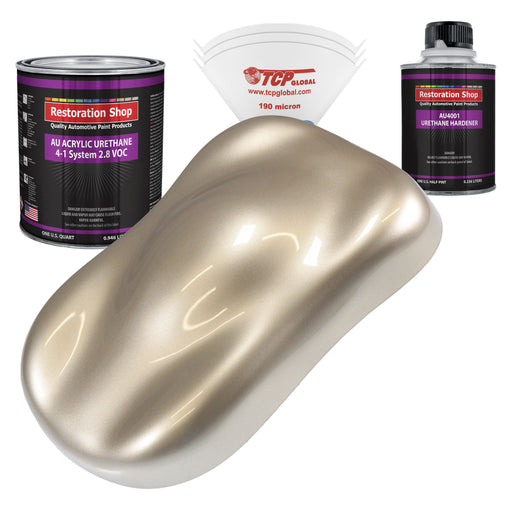 Cashmere Gold Metallic Acrylic Urethane Auto Paint - Complete Quart Paint Kit - Professional Single Stage High Gloss Automotive, Car, Truck Coating, 4:1 Mix Ratio 2.8 VOC