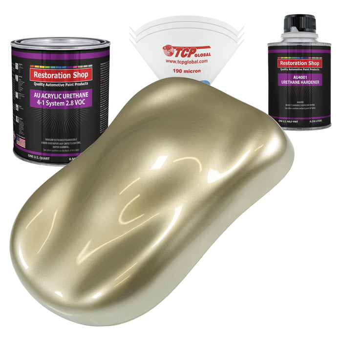 Champagne Gold Metallic Acrylic Urethane Auto Paint - Complete Quart Paint Kit - Professional Single Stage High Gloss Automotive, Car, Truck Coating, 4:1 Mix Ratio 2.8 VOC