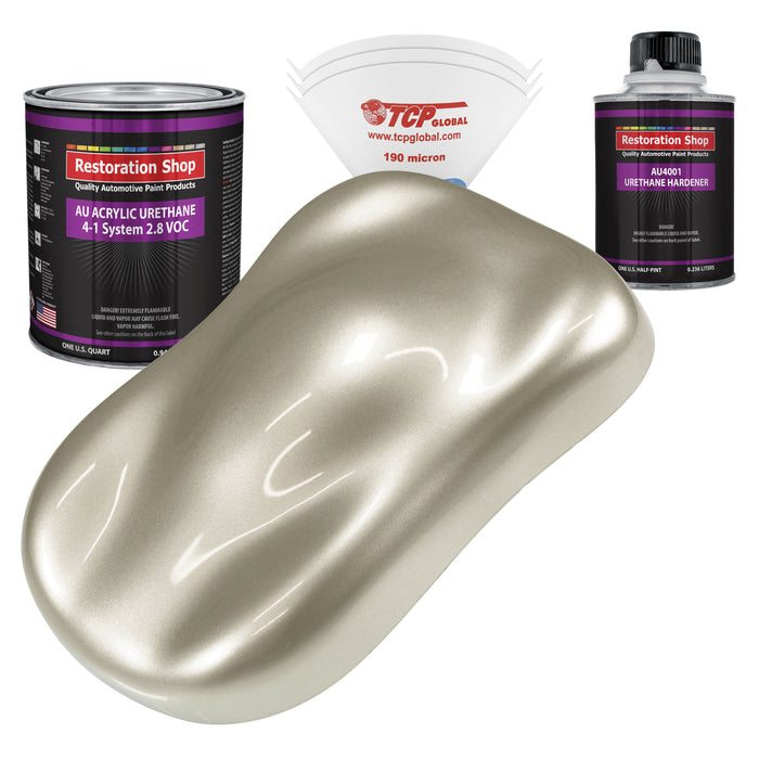 Gold Mist Metallic Acrylic Urethane Auto Paint - Complete Quart Paint Kit - Professional Single Stage High Gloss Automotive, Car, Truck Coating, 4:1 Mix Ratio 2.8 VOC