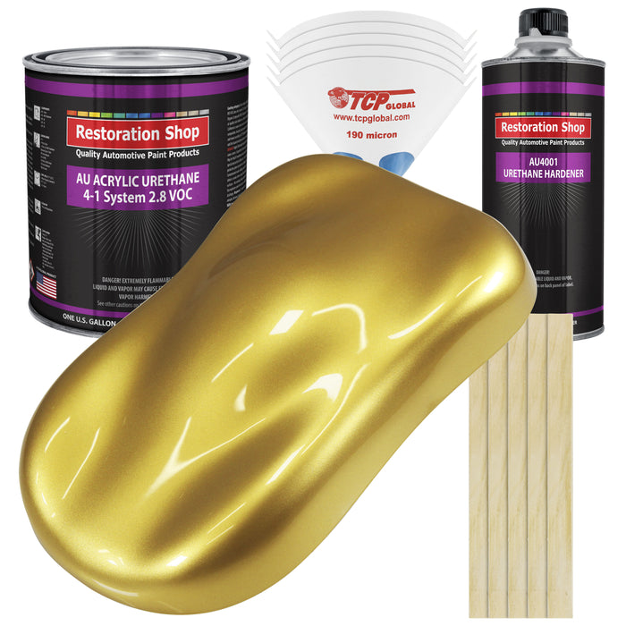 Anniversary Gold Metallic Acrylic Urethane Auto Paint - Complete Gallon Paint Kit - Professional Single Stage High Gloss Automotive, Car, Truck Coating, 4:1 Mix Ratio 2.8 VOC