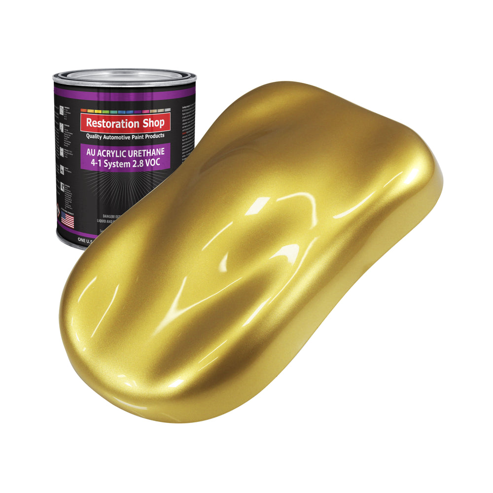 Anniversary Gold Metallic Acrylic Urethane Auto Paint - Quart Paint Color Only - Professional Single Stage High Gloss Automotive, Car, Truck Coating, 2.8 VOC