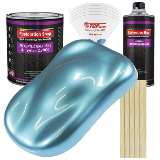 Azure Blue Metallic Acrylic Urethane Auto Paint - Complete Gallon Paint Kit - Professional Single Stage High Gloss Automotive, Car, Truck Coating, 4:1 Mix Ratio 2.8 VOC