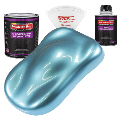 Azure Blue Metallic Acrylic Urethane Auto Paint - Complete Quart Paint Kit - Professional Single Stage High Gloss Automotive, Car, Truck Coating, 4:1 Mix Ratio 2.8 VOC