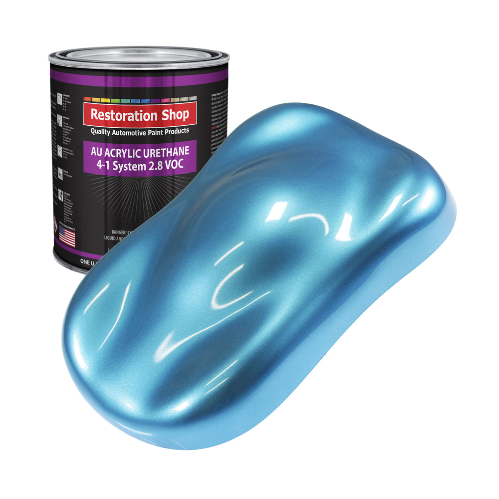 Electric Blue Metallic Acrylic Urethane Auto Paint - Gallon Paint Color Only - Professional Single Stage High Gloss Automotive, Car, Truck Coating, 2.8 VOC