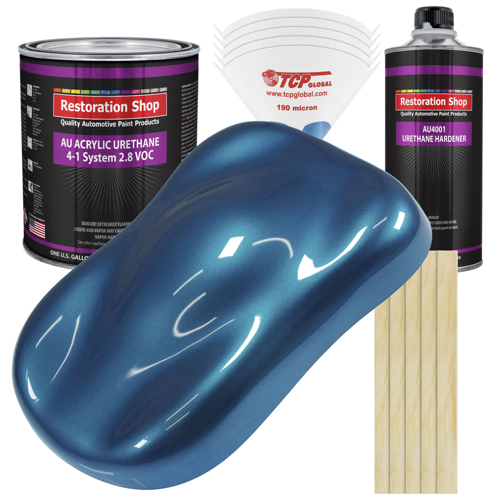 Viper Blue Metallic Acrylic Urethane Auto Paint - Complete Gallon Paint Kit - Professional Single Stage High Gloss Automotive, Car, Truck Coating, 4:1 Mix Ratio 2.8 VOC