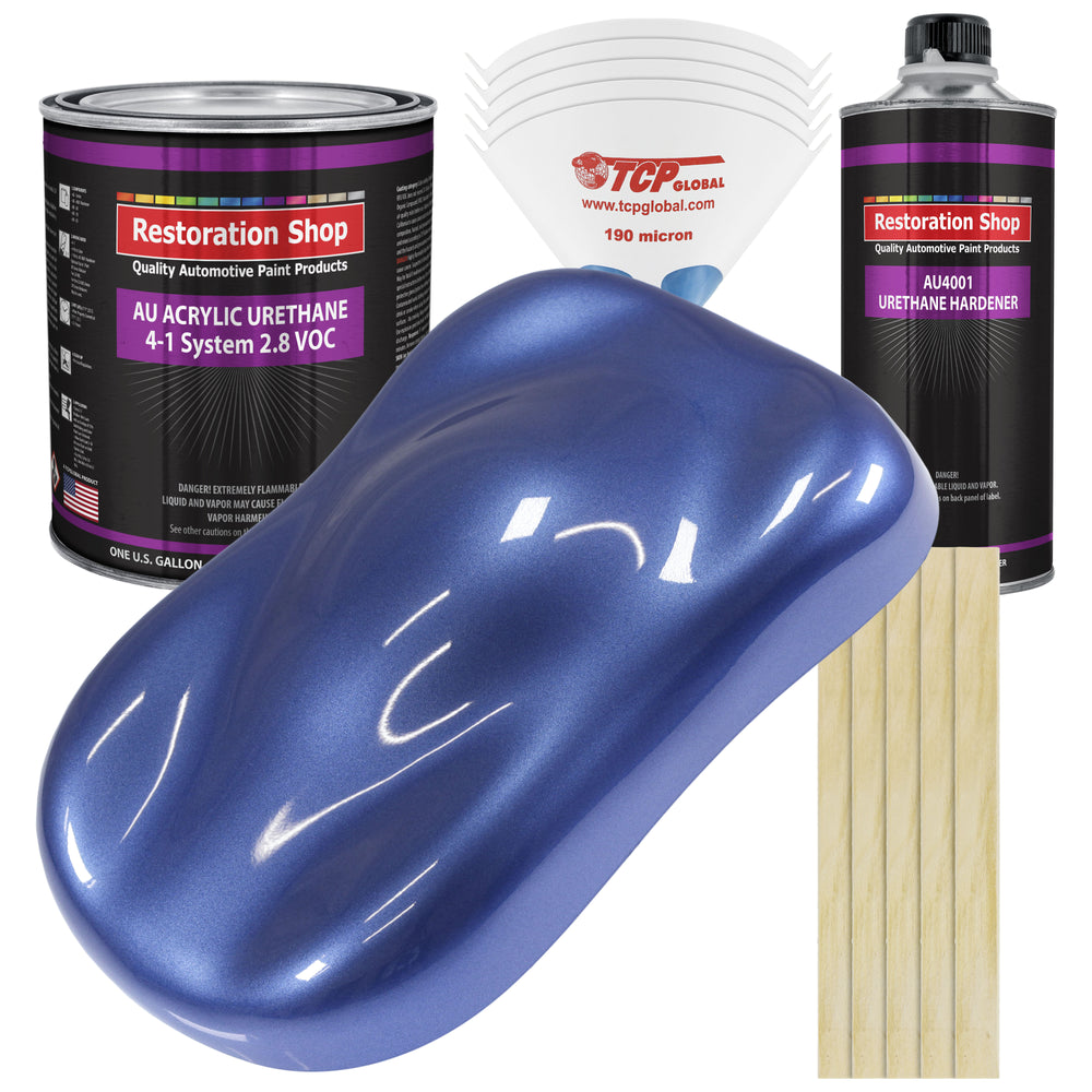 Cosmic Blue Metallic Acrylic Urethane Auto Paint - Complete Gallon Paint Kit - Professional Single Stage High Gloss Automotive, Car, Truck Coating, 4:1 Mix Ratio 2.8 VOC