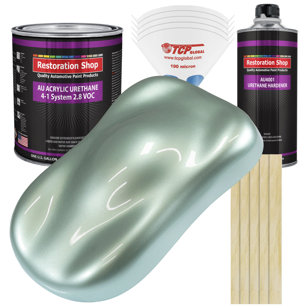 Frost Green Metallic Acrylic Urethane Auto Paint - Complete Gallon Paint Kit - Professional Single Stage High Gloss Automotive, Car, Truck Coating, 4:1 Mix Ratio 2.8 VOC