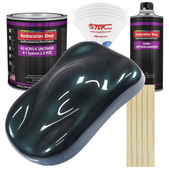 Dark Turquoise Metallic Acrylic Urethane Auto Paint - Complete Gallon Paint Kit - Professional Single Stage High Gloss Automotive, Car, Truck Coating, 4:1 Mix Ratio 2.8 VOC