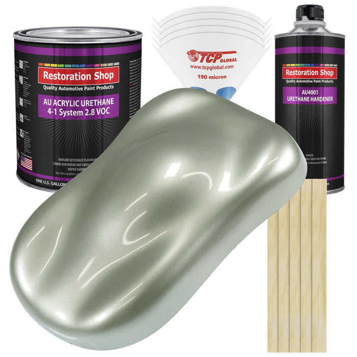 Sage Green Metallic Acrylic Urethane Auto Paint - Complete Gallon Paint Kit - Professional Single Stage High Gloss Automotive, Car, Truck Coating, 4:1 Mix Ratio 2.8 VOC