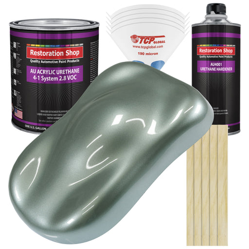 Slate Green Metallic Acrylic Urethane Auto Paint - Complete Gallon Paint Kit - Professional Single Stage High Gloss Automotive, Car, Truck Coating, 4:1 Mix Ratio 2.8 VOC
