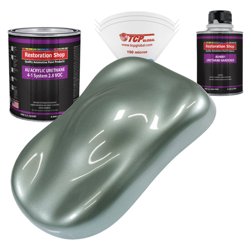 Slate Green Metallic Acrylic Urethane Auto Paint - Complete Quart Paint Kit - Professional Single Stage High Gloss Automotive, Car, Truck Coating, 4:1 Mix Ratio 2.8 VOC