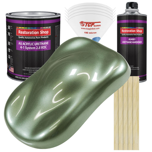 Fern Green Metallic Acrylic Urethane Auto Paint - Complete Gallon Paint Kit - Professional Single Stage High Gloss Automotive, Car, Truck Coating, 4:1 Mix Ratio 2.8 VOC