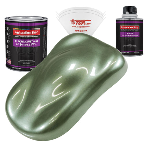 Fern Green Metallic Acrylic Urethane Auto Paint - Complete Quart Paint Kit - Professional Single Stage High Gloss Automotive, Car, Truck Coating, 4:1 Mix Ratio 2.8 VOC