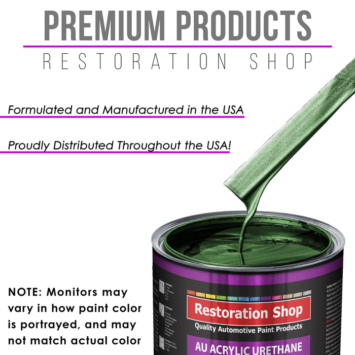 British Racing Green Metallic Acrylic Urethane Auto Paint - Complete Gallon Paint Kit - Professional Single Stage High Gloss Automotive, Car, Truck Coating, 4:1 Mix Ratio 2.8 VOC