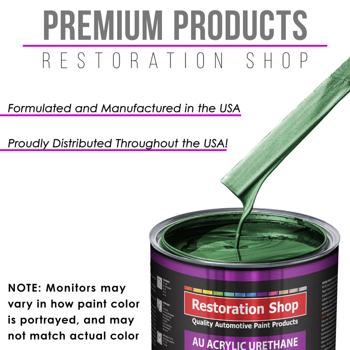 Emerald Green Metallic Acrylic Urethane Auto Paint - Complete Gallon Paint Kit - Professional Single Stage High Gloss Automotive, Car, Truck Coating, 4:1 Mix Ratio 2.8 VOC