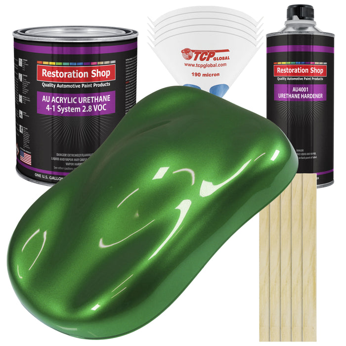 Gasser Green Metallic Acrylic Urethane Auto Paint - Complete Gallon Paint Kit - Professional Single Stage High Gloss Automotive, Car, Truck Coating, 4:1 Mix Ratio 2.8 VOC