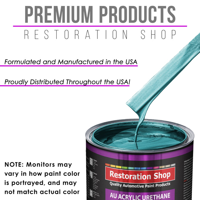 Aquamarine Firemist Acrylic Urethane Auto Paint - Complete Gallon Paint Kit - Professional Single Stage High Gloss Automotive, Car, Truck Coating, 4:1 Mix Ratio 2.8 VOC