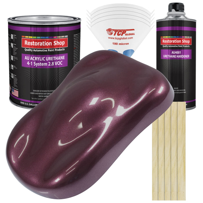 Milano Maroon Firemist Acrylic Urethane Auto Paint - Complete Gallon Paint Kit - Professional Single Stage High Gloss Automotive, Car, Truck Coating, 4:1 Mix Ratio 2.8 VOC