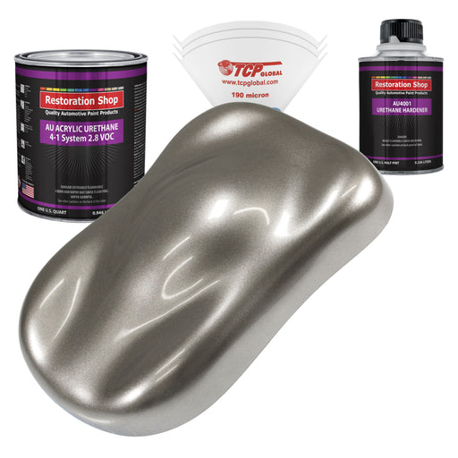 Firemist Pewter Silver Acrylic Urethane Auto Paint - Complete Quart Paint Kit - Professional Single Stage High Gloss Automotive, Car, Truck Coating, 4:1 Mix Ratio 2.8 VOC