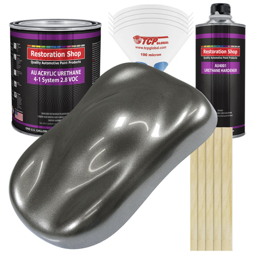 Charcoal Gray Firemist Acrylic Urethane Auto Paint - Complete Gallon Paint Kit - Professional Single Stage High Gloss Automotive, Car, Truck Coating, 4:1 Mix Ratio 2.8 VOC