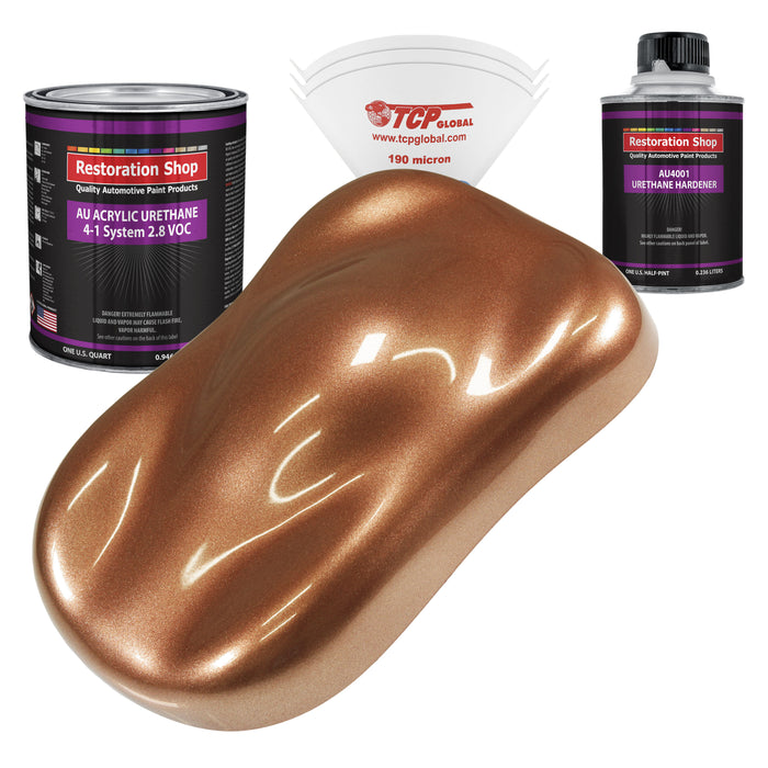 Bronze Firemist Acrylic Urethane Auto Paint - Complete Quart Paint Kit - Professional Single Stage High Gloss Automotive, Car, Truck Coating, 4:1 Mix Ratio 2.8 VOC