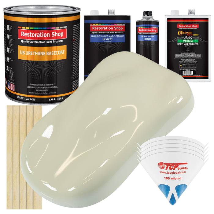 Grand Prix White - Urethane Basecoat with Clearcoat Auto Paint - Complete Medium Gallon Paint Kit - Professional High Gloss Automotive, Car, Truck Coating