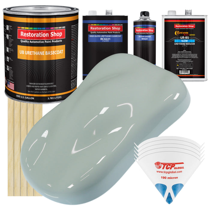 Fleet White - Urethane Basecoat with Clearcoat Auto Paint - Complete Slow Gallon Paint Kit - Professional High Gloss Automotive, Car, Truck Coating