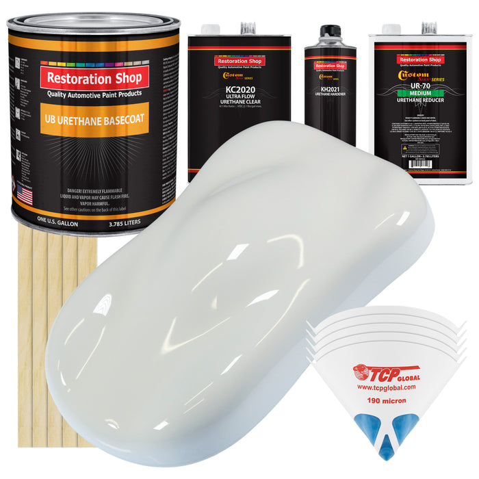 Cameo White - Urethane Basecoat with Premium Clearcoat Auto Paint - Complete Medium Gallon Paint Kit - Professional High Gloss Automotive Coating