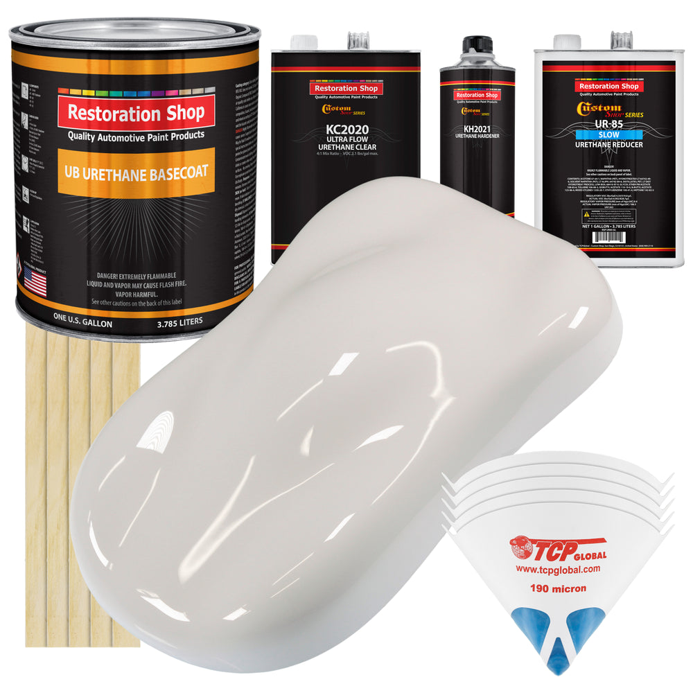 Oxford White - Urethane Basecoat with Premium Clearcoat Auto Paint - Complete Slow Gallon Paint Kit - Professional High Gloss Automotive Coating