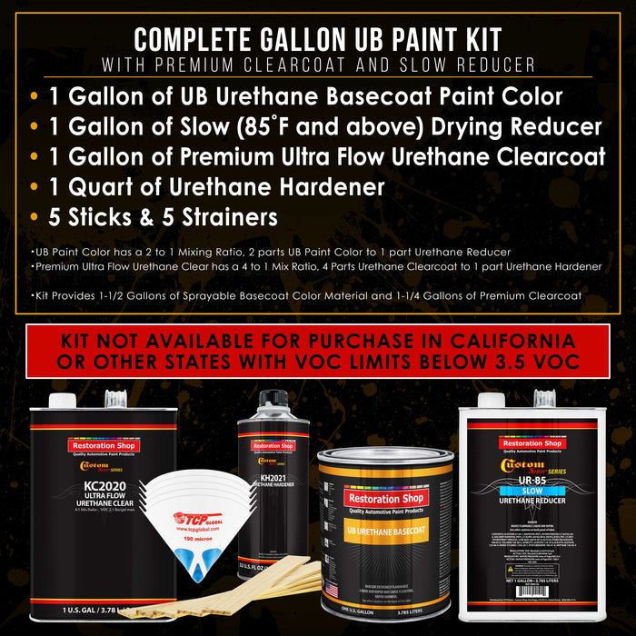 Mesa Gray - Urethane Basecoat with Premium Clearcoat Auto Paint - Complete Slow Gallon Paint Kit - Professional High Gloss Automotive Coating