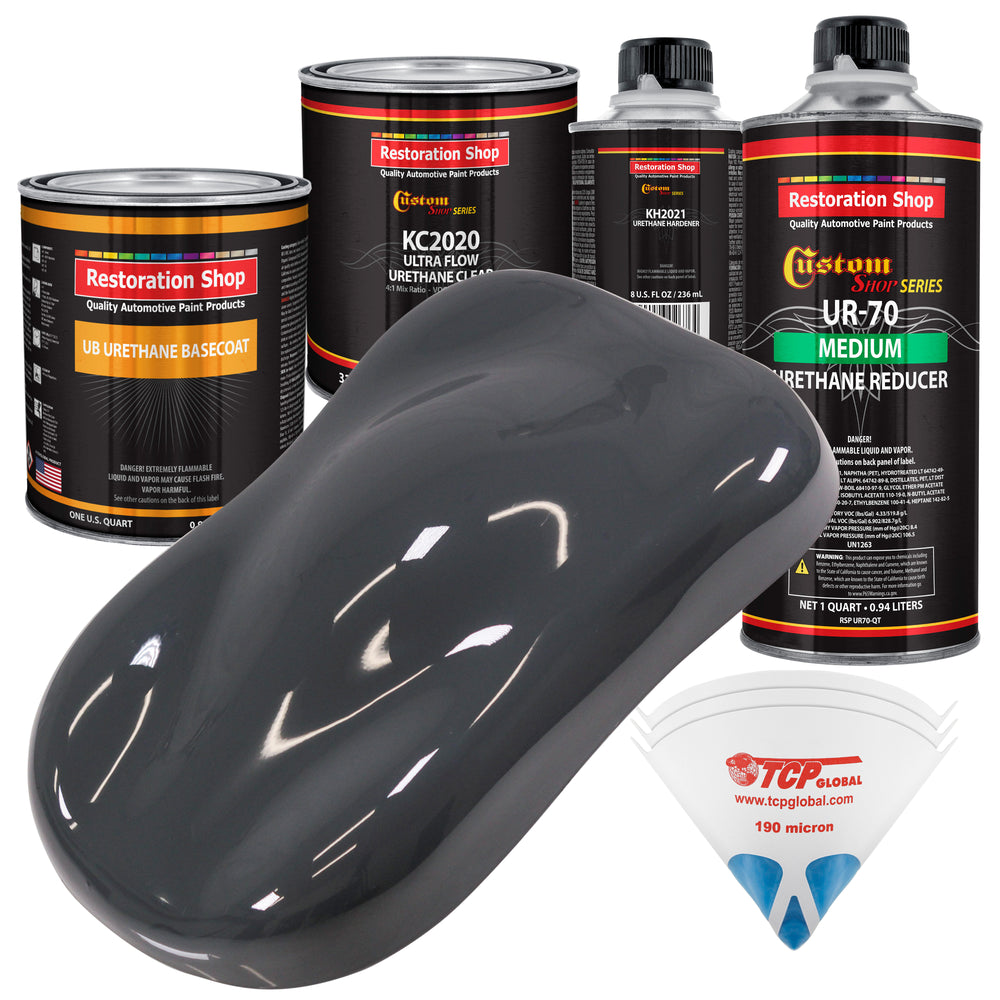 Machinery Gray - Urethane Basecoat with Premium Clearcoat Auto Paint - Complete Medium Quart Paint Kit - Professional High Gloss Automotive Coating