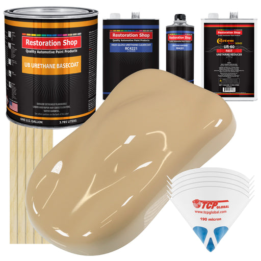 Shoreline Beige - Urethane Basecoat with Clearcoat Auto Paint - Complete Fast Gallon Paint Kit - Professional High Gloss Automotive, Car, Truck Coating